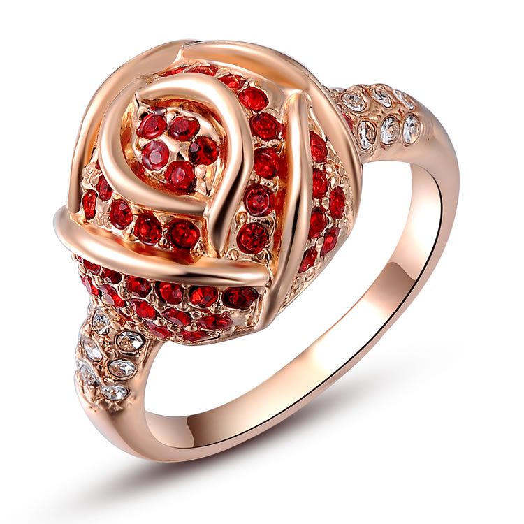 Bagues Femme Rose Rouge Diamant Or Rose