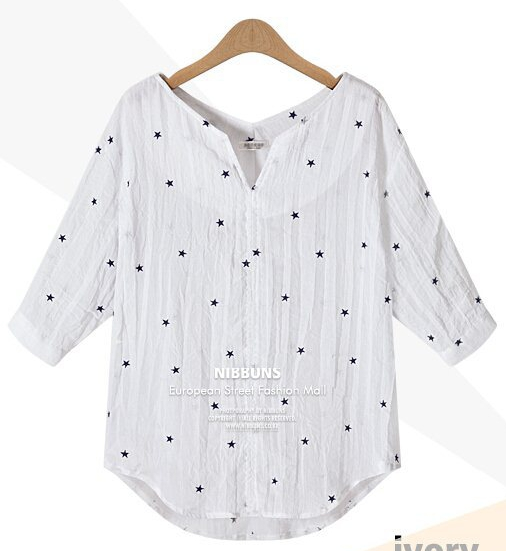 Blouses & Shirtswhite Casual V-col Half Pas Cher Solid Pas Cher