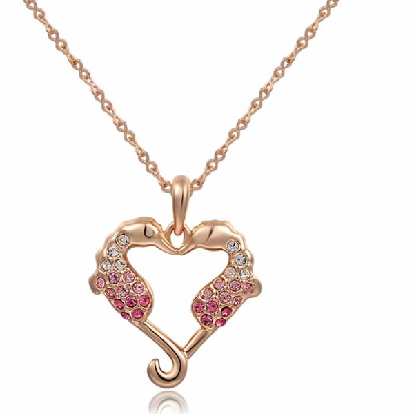Colliers Femme Gros Cristal Autrichien Rose Hippocampe Amour Or