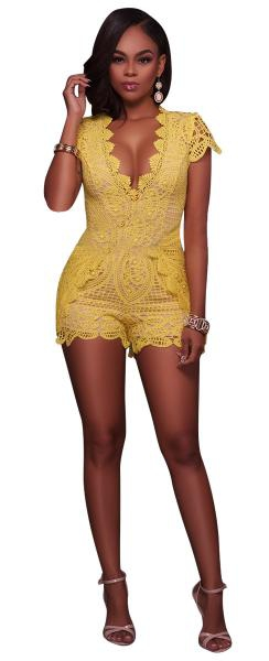 Combinaisons Femme Polyester Pas Cher Jaune Spandex Lace Solid Casual