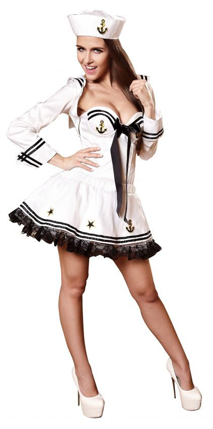 Costume Sexy Femme Polyester Pas Cher Blanc Marin