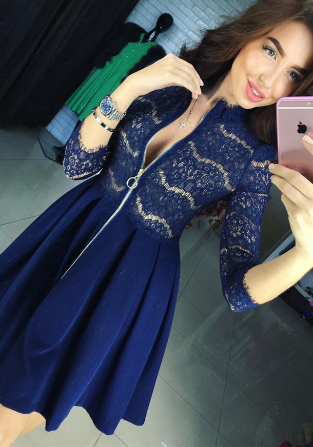 077cce35fba Robes Manches Longues Femme Bleu Stand Genoux Pas Cher Robe De Bal  Mi-longues Vente En Gros Chine