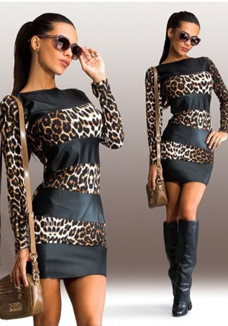 Robes Manches Longues Femme Leopard O-cou Jupes Courtes
