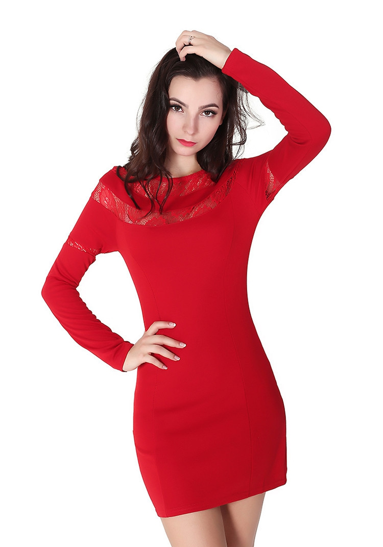 Robes Manches Longues Femme O-cou Jupes Courtes Rouge Plein