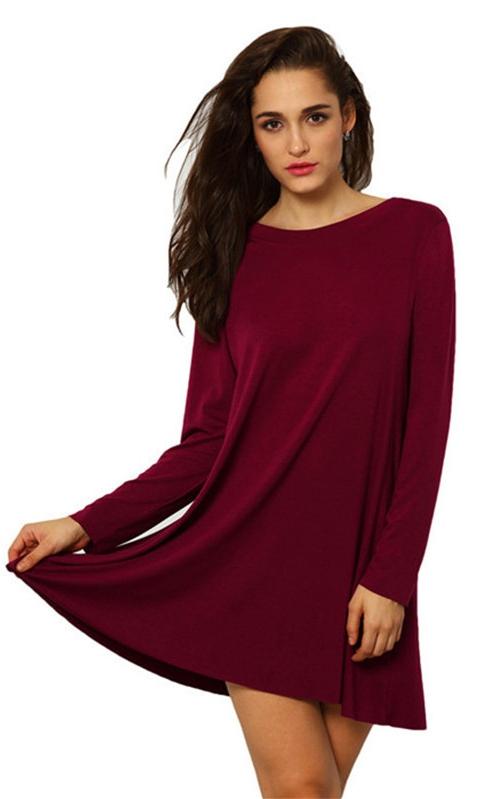 a544c310986 Robes Manches Longues Femme Rouge O-col Pleine Pas Cher Jupes A-ligne Courte