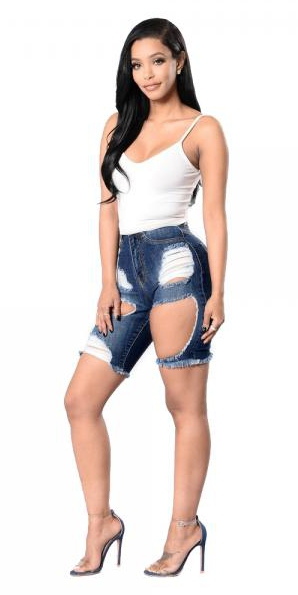Shorts Femme Blue Fashion Solid Zipper Fly Straight Standard Shorts