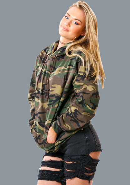 Sweatshirts & Survêtements Femme Streetwear Camouflage Hooded Pas Cher Full Short