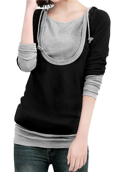 T-shirt Femme Fashion Normal O-col Patchwork Longue