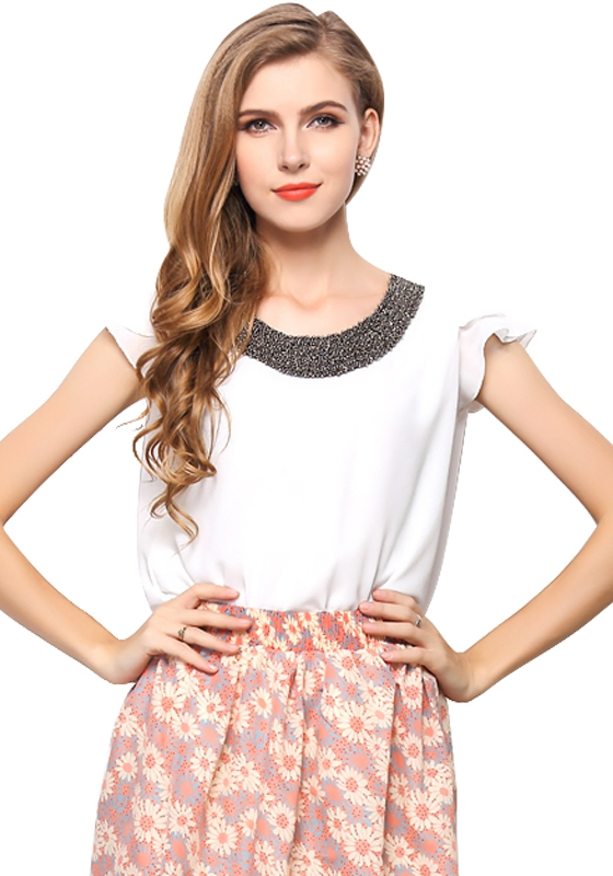 T-shirt Femme Manches Papillon Blanc O-col Ruffles Solid Pas Cher