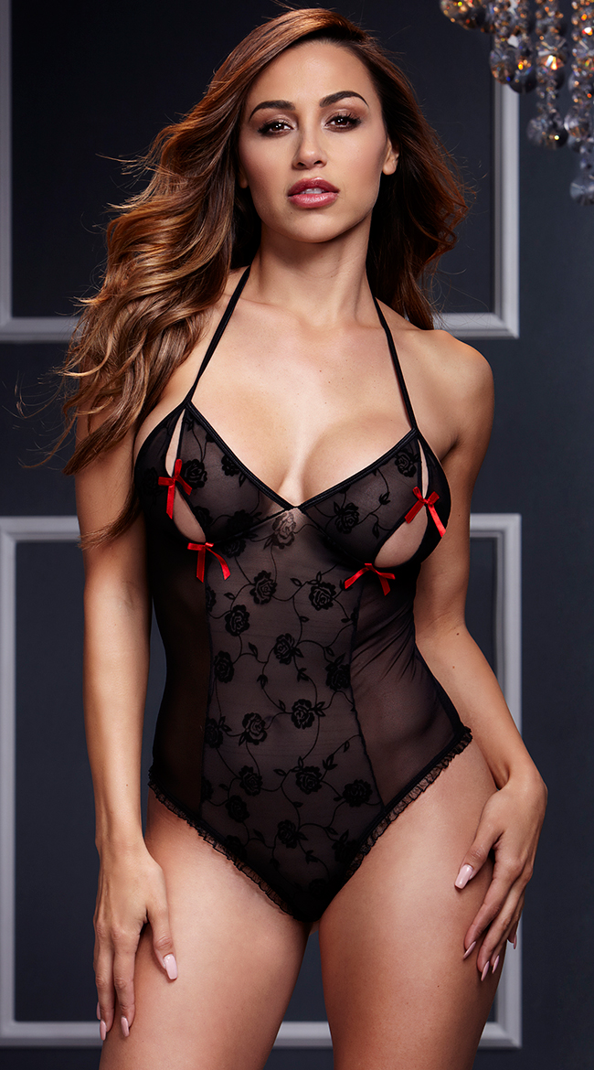 Teddies Lingerie Femme Enticement Éù Noir Col En V See Through Vêtements De Nuit