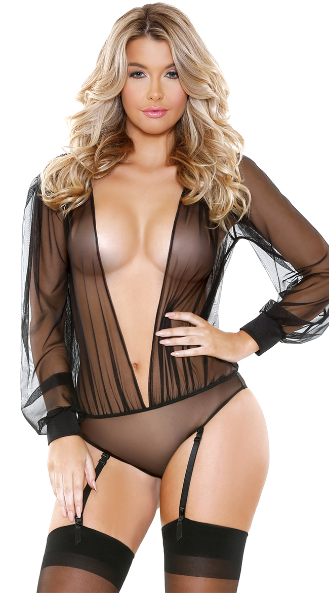 Teddies Lingerie Femme Intégration Intrigue Noir V Neck Sleepwear