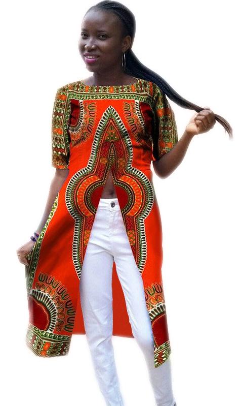 Vêtements Vêtements Manches Femme Femme Moitié La Orange Rond Imprimé Africains Col UwPxUq7v